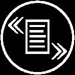 Piktogramme - runder weisser Kreis mit Papier in der Mitte