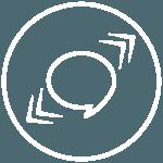 Piktogramme - runder weisser Kreis mit Sprechblase in der Mitte