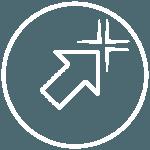 Piktogramme - runder weisser Kreis mit Pfeil in der Mitte