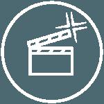 Piktogramme - runder weisser Kreis mit Filmklappe in der Mitte