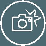 Piktogramme - runder weisser Kreis mit Fotoapparat in der Mitte