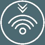 Piktogramme - runder weisser Kreis mit WIFI-Symbol in der Mitte